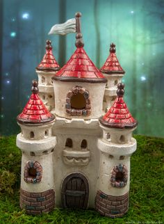 Castle Fairy House in the enchanted fairy garden.