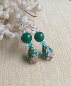 Green Jade and cloisonne earrings! Genuine jade, cloisonne, Sterling Silver, and sparkling Swarovski crystals!  See more at www.baublesnblingbybeth.com! Check out this item in my Etsy shop https://www.etsy.com/listing/450114408/green-jade-cloisonne-drop-earrings