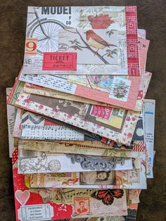a stack of collage-art postcards, all done in a vintage style Atc Cards, Journal Cards, Diy Postcard, Mail Art Envelopes, Pen Pal Letters, Pocket Letters, Snail Mail Pen Pals, Paper Art, Paper Crafts