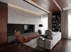 Cabinetry / TV unit in between windows Living Room Tv, Living Room Interior, Living Spaces, Modern Interior, Home Interior Design, Muebles Living, Living Comedor, Decoration Inspiration, Fireplace Design