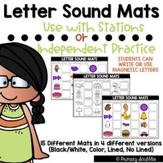 Letter Sound Mats are perfect for beginning kindergarten or those students that need extra practice with letter sound correspondence. With this product, students will look at the given picture, decide what sound is at the beginning, choose what letter goes with that sound, and either write that letter on the line beside the picture or use magnetic letters to place beside the picture.