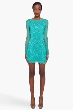 matthew willamson long sleeve lace dress. this is a fun spring colour!