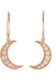ANDREA FOHRMAN Gold Diamond Earrings, Moon Earrings, Rose Gold, Mini, Bracelets, Jewelry, Jewels, Jewlery, Jewerly