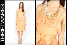 Vtg 60s Nude APRICOT SHEER TIERED PLEAT BOW Silk CHIFFON Cocktail MOD Dress XS/S | eBay