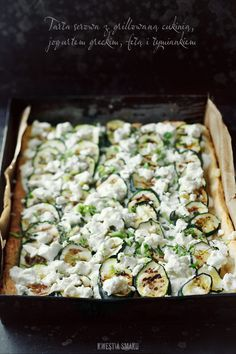 Grilled zucchini, greek yogurt, feta cheese & thyme tart