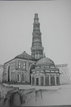 How to draw the Taj Mahal step by step. Drawing tutorials ...