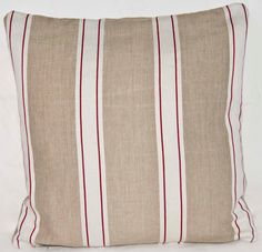UK Design Shabby Chic Beige Cream and Red stripe Linen Cotton Fabric via Etsy - I like this fabric