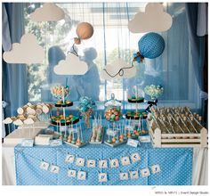 """""""Up Up & Away"""" themed dessert table, by Apples & Mints 
