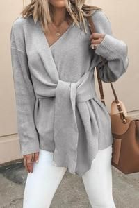Shopping V Neck Asymmetric Hem Belt Loops Plain Sweaters online with high-quality and best prices Sweaters at Luvyle. Sweater Sale, Loose Sweater, Long Sleeve Sweater, Casual Sweaters, Sweaters For Women, Long Sweaters, White Sweaters, Women's Sweaters, Cardigans