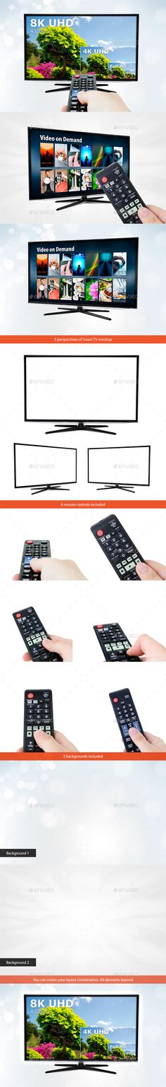3 mockups of Smart TV with Remote Controls and Backgrounds - TV Displays