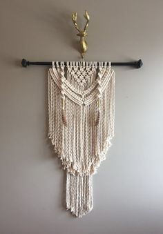 """30"""" Large Macramé Wall Hanging Black Rod Feathers Boho Hippie Bohemian Eclectic Contemporary Fringe Brass Rustic Hanging"""