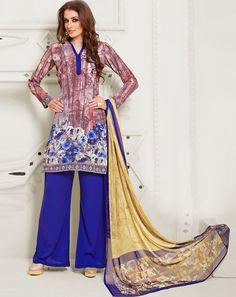 Buy Top: Purple; Bottom: Blue; Dupatta: Multi Purple Crepe Unstitched Suit for women Online  At Flash Sale   Styletag, India