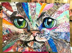 cat art projects for kids ~ cat art ; cat art projects for kids ; Paper Art Projects, Easy Art Projects, School Art Projects, Animal Art Projects, Animal Crafts, Collage Kunst, Art Du Collage, Easy Collage, Collage Portrait
