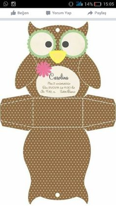 """flat layout of the owl """"box"""" Owl Crafts, Diy And Crafts, Crafts For Kids, Paper Crafts, Paper Box Template, Owl Templates, Owl Box, Theme Harry Potter, Diy Gift Box"""