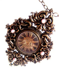 Copper Clock Necklace Victorian Look With Roman Numerals And Pink. $16.00, via Etsy. - very neat