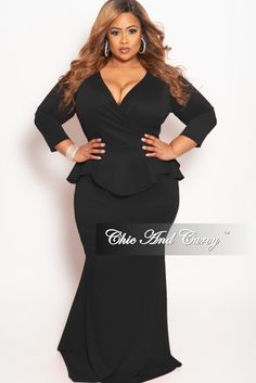 8a7f820d2c Final Sale Plus Size BodyCon Dress with Faux Wrap Peplum Top in Black. Chic  And Curvy