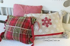 DIY Christmas Pillow Slip-Covers:  No-Sew or Low-Sew