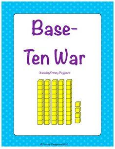 A twist on the classic war game, using base-ten (place value) blocks representing numbers to Love Math, Fun Math, Math Games, Math Activities, Math Classroom, Kindergarten Math, Teaching Math, Math Stations, Math Centers