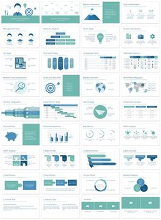 Business plan PowerPoint template in flat design style with 36 pre-designed slides.