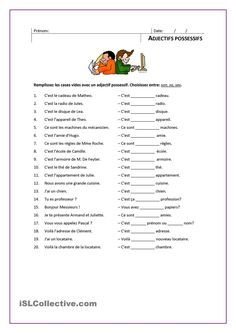 ADJECTIFS POSSESSIFS French Language Lessons, French Language Learning, French Lessons, French Flashcards, French Worksheets, French School, French Class, Les Adjectifs Possessifs, Teaching French Immersion