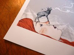 Deer Lady // A4 print by SandraDieckmann on Etsy, £11.00