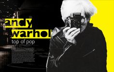 The continuity of this design is strong because of the unique repetition of the bright yellow on both pages in two distinct ways. I like that the photo of Andy Warhol looks like it was cut out by hand, which looks artsy and personal. The photo to the left of him is a nice touch and gives a good backdrop for the white text.