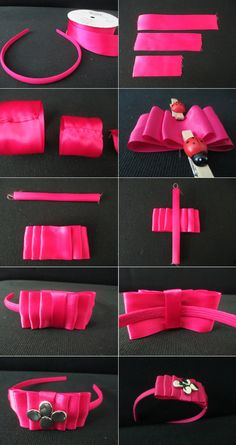 DIY Hair Accessories DIY Headband DIY Tutorial: Pink Ribbon Bow Headband