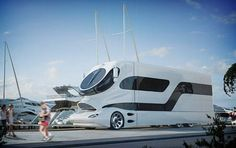 World's most expensive motorhome - The 'eleMMent palazzo', produced by Austrian firm Marchi Mobiles, is long and comes complete with a pop-up roof terrace measuring 215 sq ft, underfloor heating and a bar. Luxury Campers, Luxury Motorhomes, Luxury Rv, Luxury Life, Bugatti, Lamborghini, Ferrari, Colani Truck, Moto Home