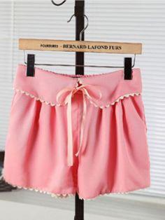 Pink Casual Mid Drawstring Waist Bow Ruffles Shorts