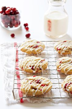 Glazed Orange Cranberry Cookies | My Baking Addiction