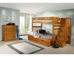 Mom's Bunk House ! We offer a wide selection of Bunk Beds for kids. Our Bunk Beds and Kids' Loft Beds come in a wide range of sizes, styles, and designs - ensuring that you'll find a bed that both you and your child love! Staircase Bunk Bed, Bunk Beds With Stairs, Cool Bunk Beds, House Bunk Bed, Futon Bunk Bed, Bunk Beds For Boys Room, Kid Beds, Boy Room, Siblings Sharing Bedroom