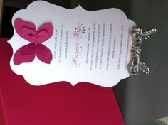 Beautiful Butterfly Bat Mitzvah Invitation
