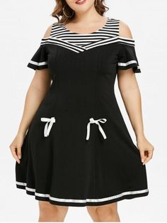A black and white striped yoke with a satin-ribbon tie makes a sweet start to this skater dress updated with cold-shoulder cutouts and flouncy sleeves. Contrast trim at the hemline adds a subtle, sophisticated finish to this perfectly flared dress. Plus Size Dresses, Plus Size Outfits, Cute Dresses, Casual Dresses, Curvy Plus Size, Plus Size Casual, Maxi Dress With Sleeves, Short Sleeve Dresses, Long Sleeve