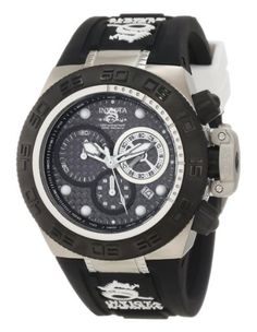 Invicta Women's 10159 Subaqua Noma IV Chronograph Black Dial Black and Blue Silicone Watch. Swiss quartz movement. Flame-fusion crystal; stainless steel case; black silicone strap with white accents. Chronograph functions with 60 second white subdial, 30 minute and 1/10th of a second black subdials with white hands; date function. Black carbon fiber dial with blue hands and hour markers; luminous; unidirectional black ion-plated stainless steel outer bezel; tachymeter scale on inner bezel…