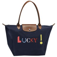 LONGCHAMP LE PLIAGE LUCKY LARGE TOTE BAGS NAVY - LONGCHAMP