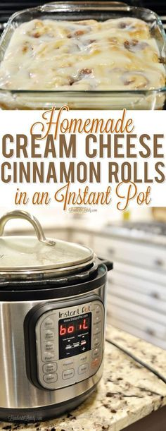 Homemade Cream Cheese Cinnamon Rolls in an Instant Pot Learn how you can use your Instant Pot to make the prep process for from scratch cream cheese cinnamon rolls so much easier! These are great for a holiday like Christmas morning. Learn how you can use Instant Pot Pressure Cooker, Pressure Cooker Recipes, Pressure Cooking, Slow Cooker, Pressure Pan, Instant Cooker, Crockpot Recipes, Cooking Recipes, Cooking Ideas