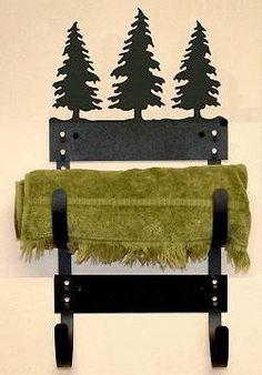 Pine Tree Towel Rack Holder Rustic Wildlife Cabin Bathroom Decor | eBay