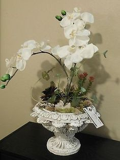Farmhouse elegance natural Orchid & Succulent floral arrangement, geode