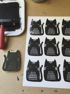 Cats, Block Print, S...