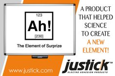 #Justick - A product that helped science to create a new element. www.justick.com Adhesive, Calm, Science, Create, Science Comics