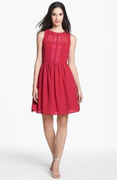 Jessica Simpson Lace Placket Chiffon Fit & Flare Dress available at #Nordstrom