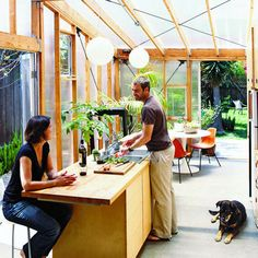 *Now sheets of clear polycarbonate open this dark little bungalow to its garden.*** Sunny bungalow: Addition - Inspiring Small Homes - Sunset Outdoor Rooms, Outdoor Living, Indoor Outdoor, Greenhouse Kitchen, Greenhouse House, Outdoor Greenhouse, Architecture Design, House Extensions, Bungalow Extensions