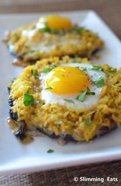 baked portabella mushrooms with rice and egg