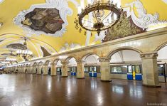 MOSCOW - MAY Train at the metro station Komsomolskaya at night on May 2013 in Moscow, Russia. Metro station Komsomolskaya is a great monument of the Soviet era. Moscow Metro, U Bahn, Travel Workout, Metro Station, Moscow Russia, Taj Mahal, Travel Destinations, Art Deco, Tours