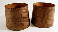 2 Vtg LAMP SHADE PAIR gold black swirl whip stitched mid century modern 50s 60s