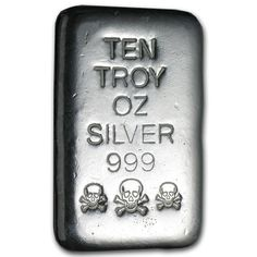 10 troy oz .999 fine silver bullion hand poured Skull and Crossbones bar
