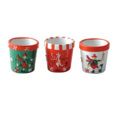 """Three Small Christmas Pots Tiny, hand-painted resin pots with a variety of snowman designs. Make inexpensive table, buffet or mantel accents by filling with #25687 Lycopodium. You can also use our 7/8""""H #24291 Pine Trees or Spruce Trees as shown.   Each 1/2""""Dia. x 1/2""""H"""