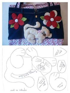 so cute cat pattern, i would make smaller as a brooch and pin it to a tote Cat Crafts, Sewing Crafts, Sewing Projects, Felt Patterns, Sewing Patterns, Cat Template, Cat Quilt, Cat Pattern, Stuffed Animal Patterns