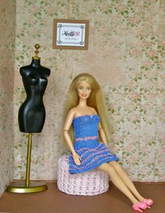 Blue Knit Barbie Dress with Pink Shoes. Handmade by KnittyforB