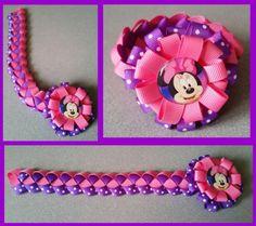Minnie Mouse Hair Bow Ribbon Bun Wrap #A1 (you choose image and ribbon colors)